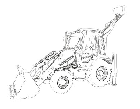 quarry: Outlines of the excavator Stock Photo
