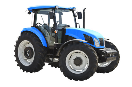 Landwirtschaftliche Zugmaschine auf einem weißen Hintergrund Standard-Bild - 82332530