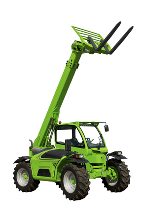 Telescopic handler isolated on a white background Stock Photo