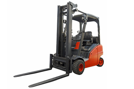 Forklift isolated on a white background Stock Photo