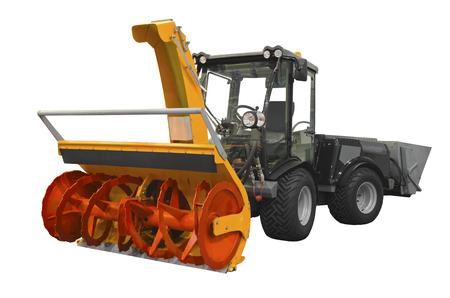 Powerful snowplow isolated on a white background Standard-Bild - 96824001