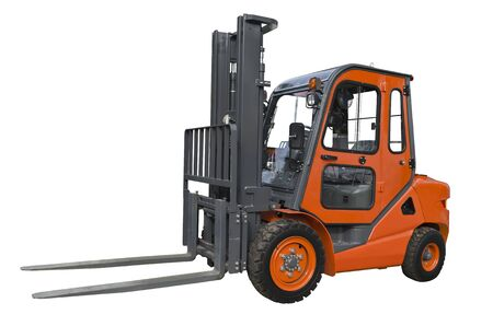 Powerful electric forklift isolated on a white background
