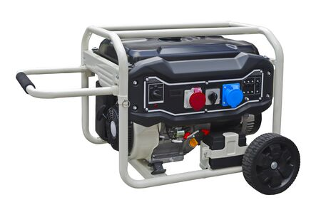 Small portable gasoline generator isolated on a white background Stock fotó
