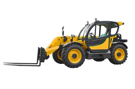 A telescopic handler, also called a telehandler isolated on a white background.