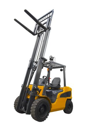 A telescopic handler isolated on a white background Stock fotó