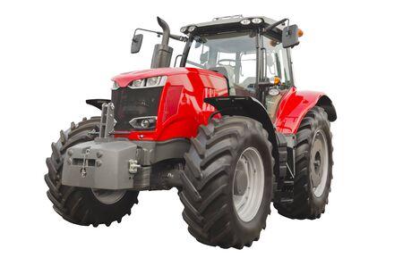 Großer roter landwirtschaftlicher Traktor isoliert auf weißem Hintergrund Standard-Bild