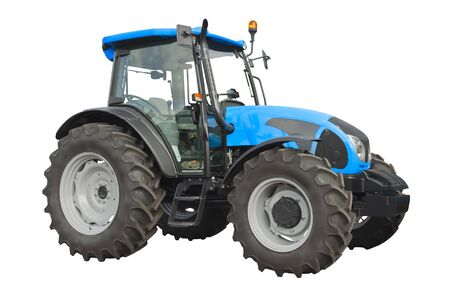 Blue agricultural tractor isolated on a white background