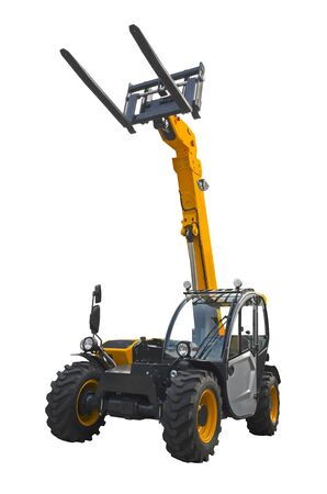 A telescopic handler, also called a telehandler