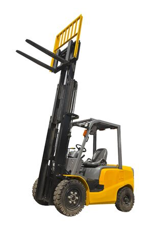 Electric pneumatic forklift isolated on a white background 版權商用圖片