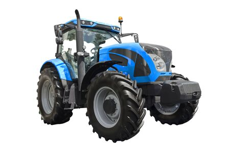 Big blue agricultural tractor isolated on a white background 版權商用圖片