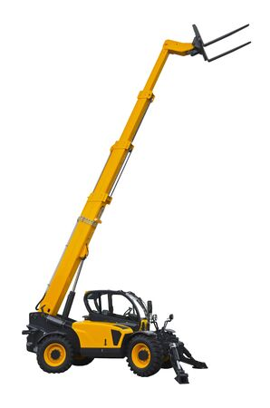 A telescopic handler isolated on a white background 版權商用圖片