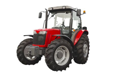 Red agricultural tractor isolated on a white background