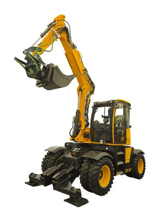 Wheeled excavator designed for the development of soils and bulk materials