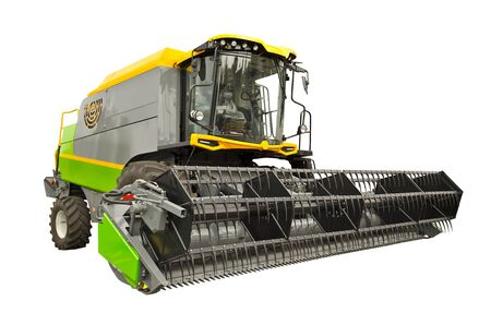 Modern agricultural combine front view, isolated on a white background