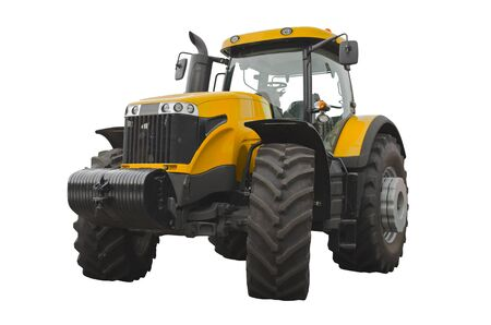 Yellow agricultural tractor, front view