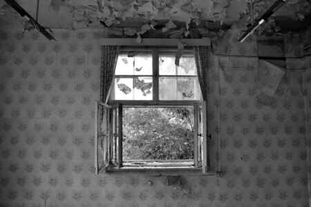 Old broken window with curtains photo