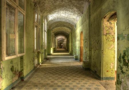 緑の壁の色との長い廊下