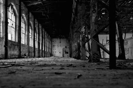 View in a abandoned hall with a clock photo