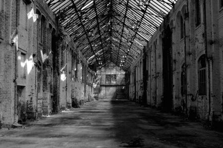 abandoned warehouse: Abandoned warehouse with large windows Stock Photo
