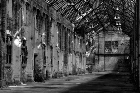 abandoned warehouse: Old bright abandoned warehouse