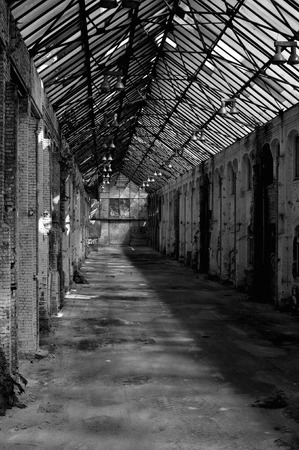 abandoned warehouse: Abandoned warehouse with glass roof Stock Photo