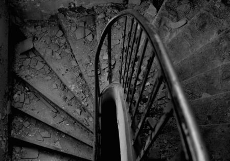 Old staircase leading down photo