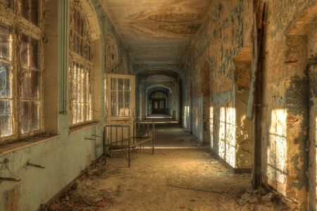 Old Hospital bed in a deserted corridor