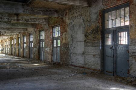 industrial ruins: Abandoned hall of a post with lots of goals