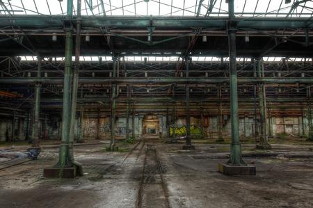 abandoned warehouse: Large abandoned warehouse with steel beams