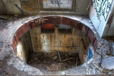 Hole in a brewery where the boiler was