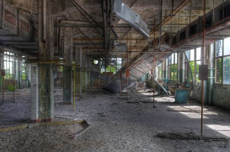 abandoned warehouse: Warehouse in an abandoned laundry Stock Photo