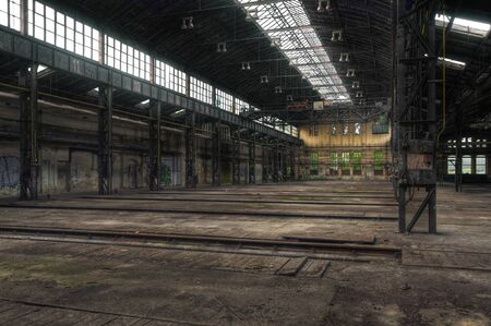 Old locomotive hall for repairs with tracks