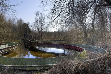 pripyat: Travel path of an old water coaster at an abandoned amusement park Stock Photo