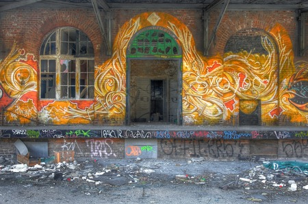 Great graffiti with yellow and red flames