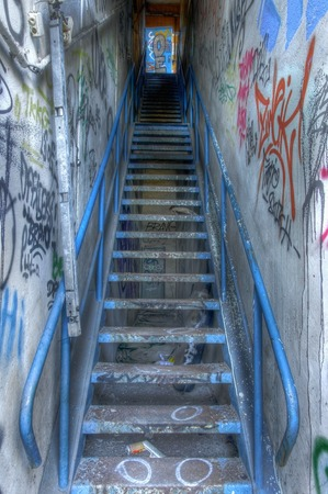 Blue metal staircase leading up