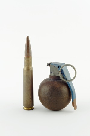 caliber: Great cartridge and a grenade isolated on white Stock Photo
