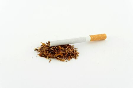 fag: Cigarette and tobacco isolated on white Stock Photo