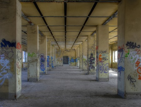 old office: View of a deserted hall in an old office building