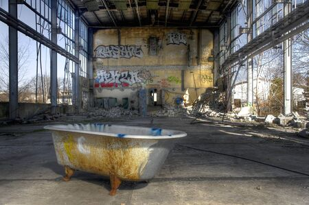 abandoned warehouse: Bathtub in an abandoned warehouse