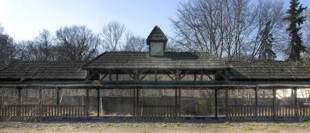 treed: Old train station in an abandoned amusement park Stock Photo