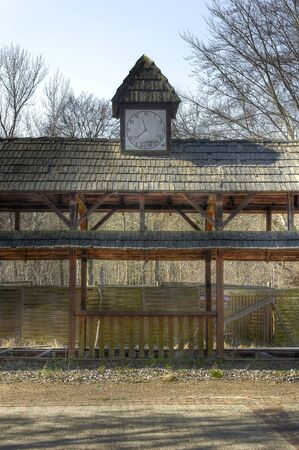 treed: Station with a clock in an abandoned amusement park