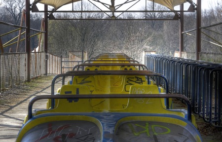 pripyat: Car of a roller coaster in an abandoned amusement park