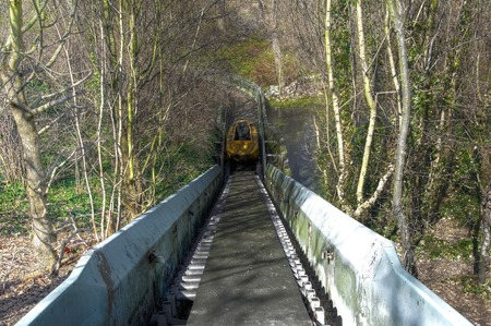 Flume with a boat in an abandoned amusement park