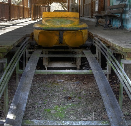pripyat: Old flume with a yellow boat