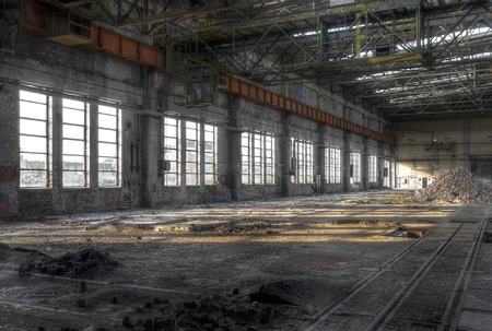 old factory: Large warehouse with large windows