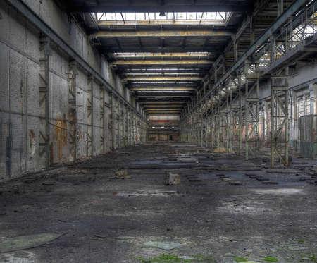 abandoned warehouse: Abandoned large empty warehouse in East Germany