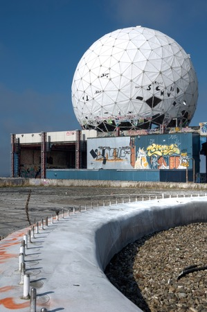 Dome of the abandoned monitoring station on the Teufelsberg