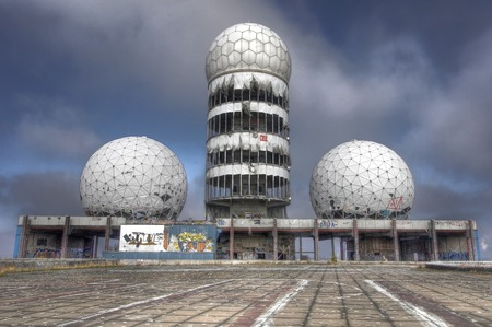 Towers of the abandoned NSA listening station on Teufelsberg in Berlin