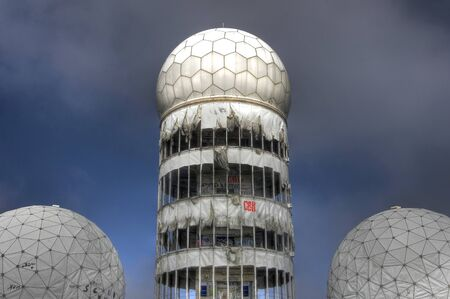 Tower with dome of the monitoring station on the Teufelsberg in Berlin