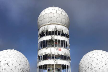 bugging: Tower with dome of the monitoring station on the Teufelsberg in Berlin